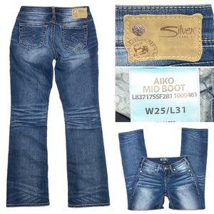 Silver Jeans Aiko Mid Boot Dark Wash Stretch Denim